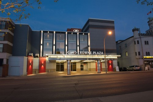 night time view of the exterior of the Crowne Plaza Hotel Kitchener Waterloo