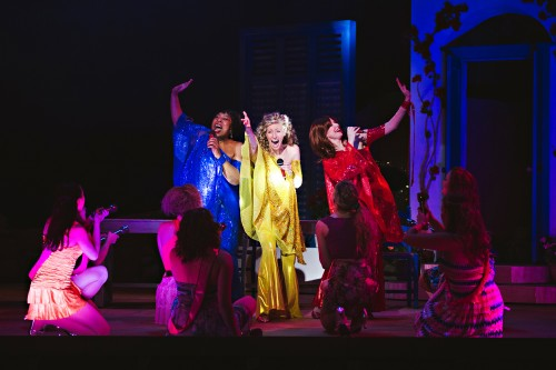 Jenni Burke, Blythe Wilson, Jackie Mustakas and ensemble in Mamma Mia!, Drayton Entertainment, 2016