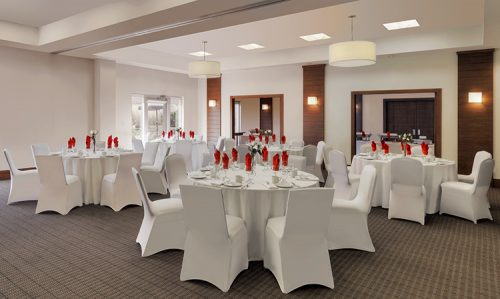 Meeting room set up with linens at the Four Points by Sheraton Cambridge Kitchener