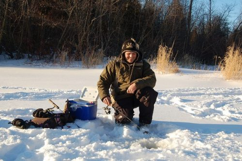 ice fishing on Mill Creek by Shade's Mills