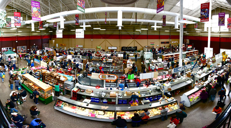 Panoramic shot of the interior of the Kitchener Market