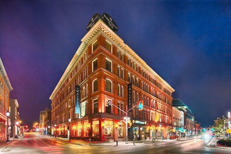 a night time view of the exterior of the Walper Hotel
