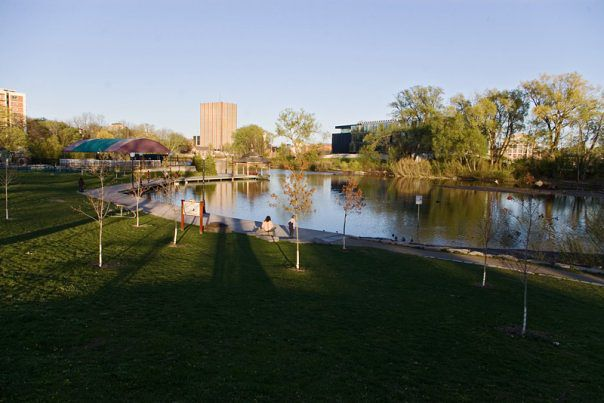 a view of Silver Lake in Waterloo Park