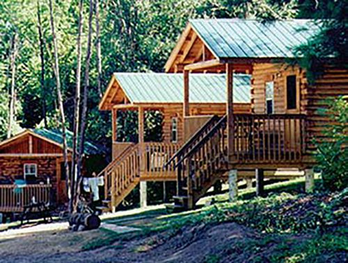 outside view of the cabins at Bingemans Camping Resort