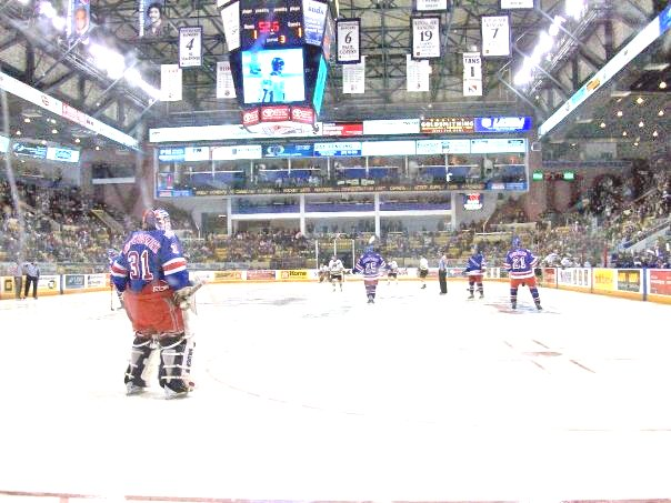 goalie on ice at the aud in kitchener
