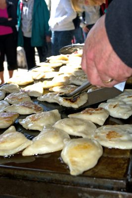 Outside Food Vendors at the Mennonite Relief Sale in New Hamburg serving perogies