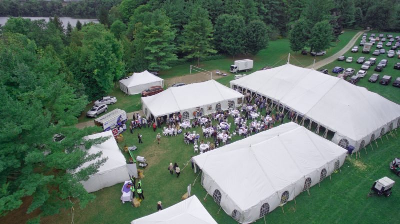ACE Events - aerial shot of tents and a party