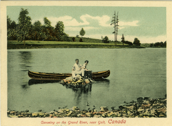 Old postcard image of people canoeing on the Grand River