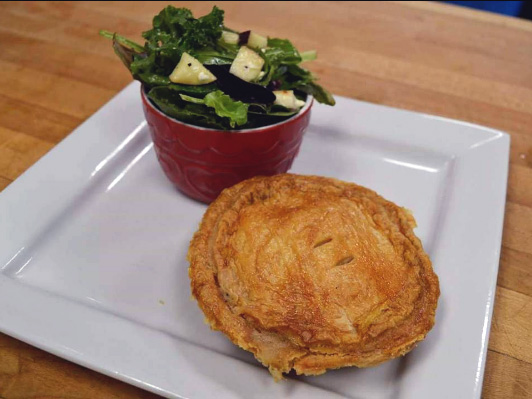 A salad and lunch sized pie from Just Love Pie by Sweet and Savoury Pie Company
