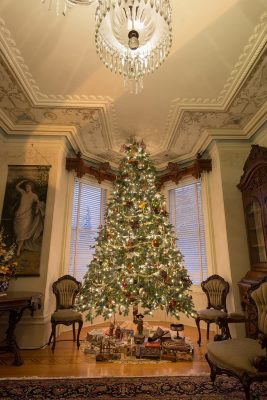Christmas tree in the round room at Castle Kilbride