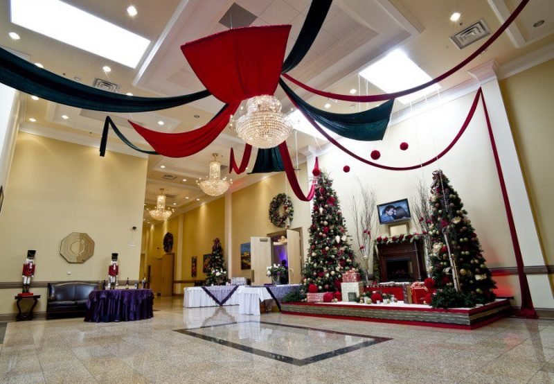 St. George Banquet Hall set up with Christmas decor in the lobby