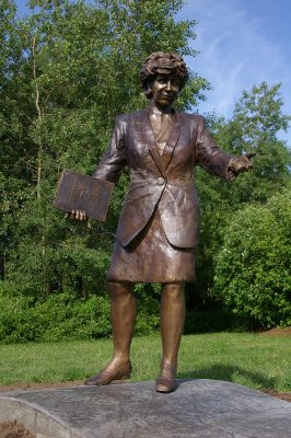 Bronze statue of Kim Campbell - Prime Ministers Path - Castle Kilbride, Baden