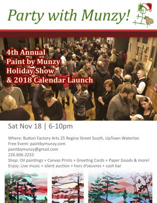 Paint by Munzy flyer for holiday show and calendar launch