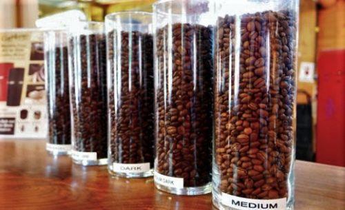 jars of coffee beans at Eco Cafe