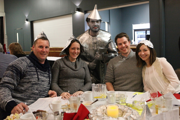 tin man and audience at Grand River Raceway Murder Mystery dinner