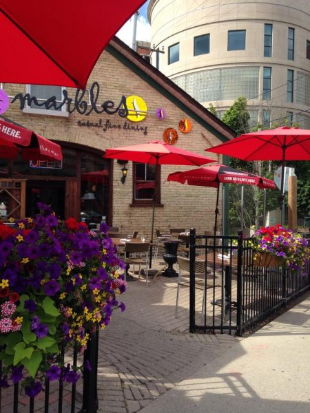 exterior view of Marbles Restaurant in Uptown Waterloo