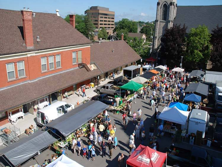 outdoor view of the Downtown Cambridge Farmers' Market