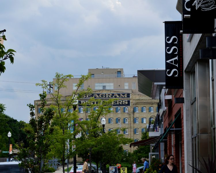 Streetscape in Uptown Waterloo with views of the Seagrams building - Shopping in Waterloo Region