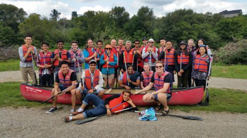 large group of canoeing with Canoeing the Grand