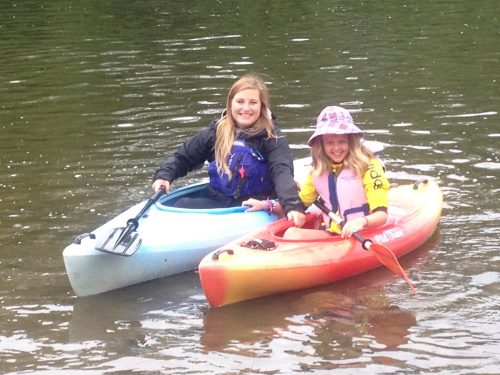 mother and daughter in kayaks on the Grand River