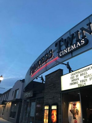 Outside the Princess Twin Cinemas, a perfect date night spot, in UpTown Waterloo, Ontario