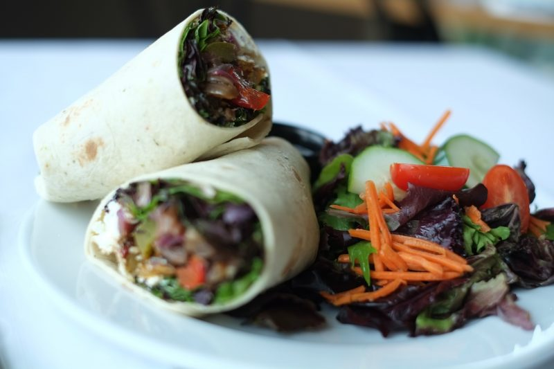 wraps and salad at the Chrysalis Cafe at the Cambridge Butterfly Conservatory