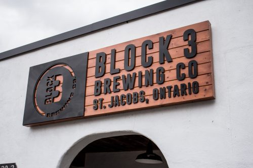 sign outside of Block Three Brewing Company in St. Jacobs