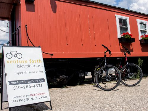 Red Caboose location of Venture Forth Bicycle Tours in St. Jacobs