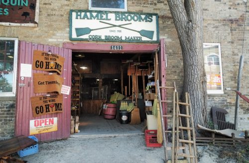 view of the entrance to Hammel Brooms in St. Jacobs