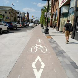 segregated bike lanes in UpTown Waterloo
