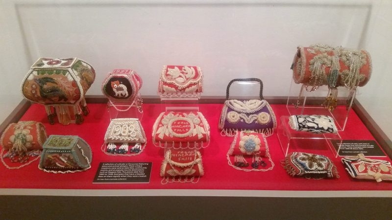 bead work items by artist Naomi Smith displayed at Schneider Haus