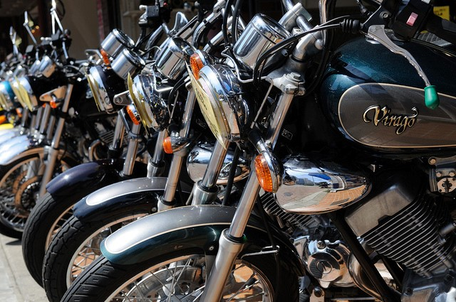 motorcycles lined up in a row