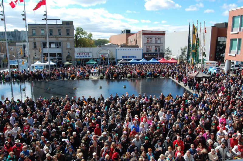 view of the large crowd at Kitchener City Hall for KW Oktoberfest opening ceremonies 2017