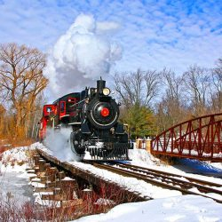 Waterloo Central Railway train in the winter