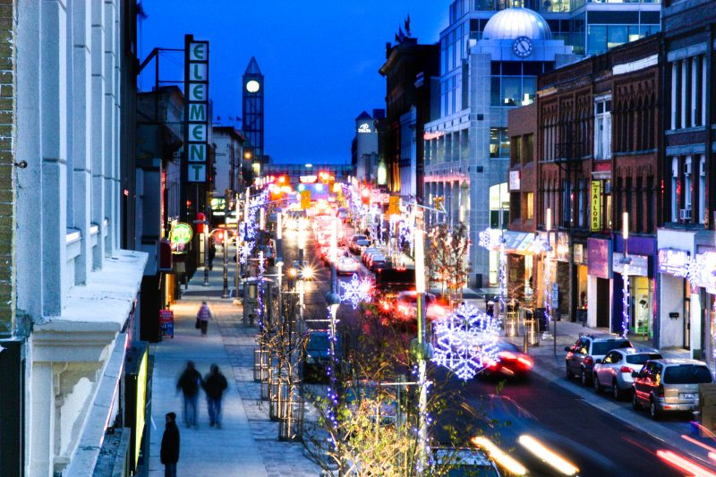 downtown Kitchener lit up for the holidays