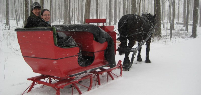 a couple enjoying a winter sleigh ride with St. Jacobs Horse Drawn Tours