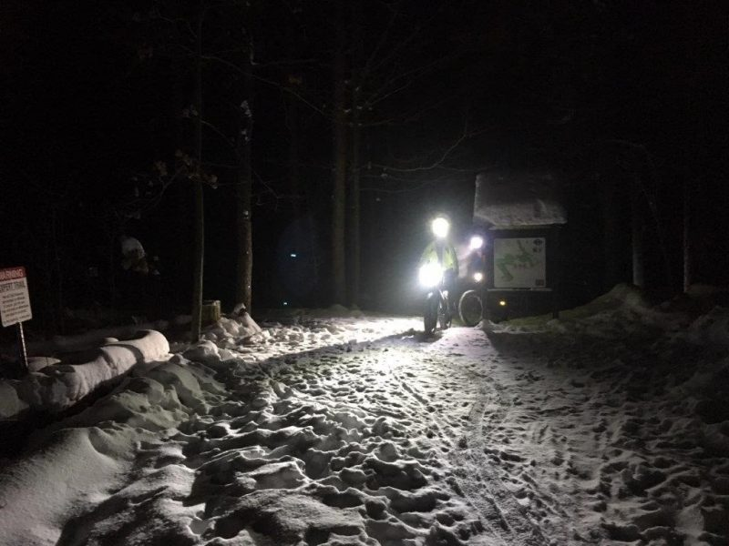 mountain bikers on the Hydrocut trails at night in the winter