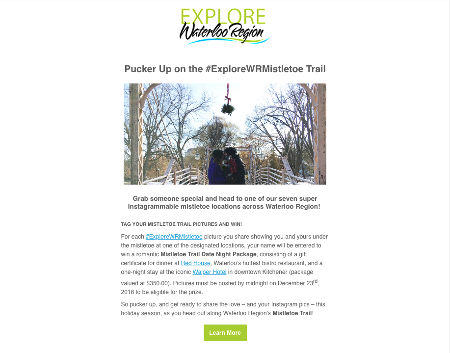 The December edition of the Explore Waterloo Region outlining the #ExploreWRMistletoe campaign