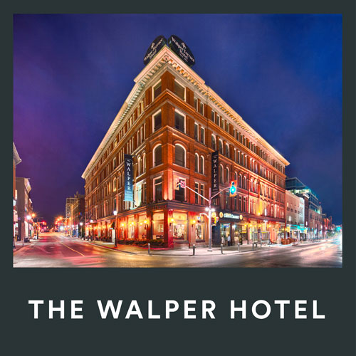 The Walper Hotel exterior at night