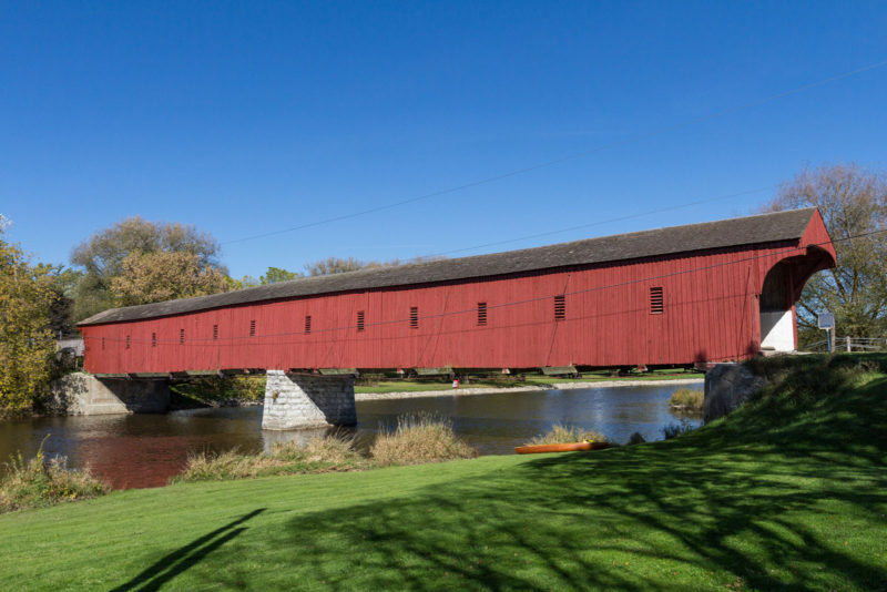 photo of the exterior of the west montrose covered bridge