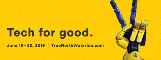 True North Tech for Good poster with robotic hand giving peace sign