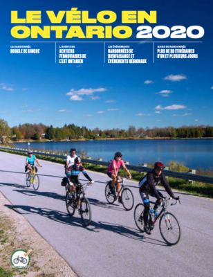 People riding bikes next to a lake on the Cycling in Ontario 2020 Cover - French