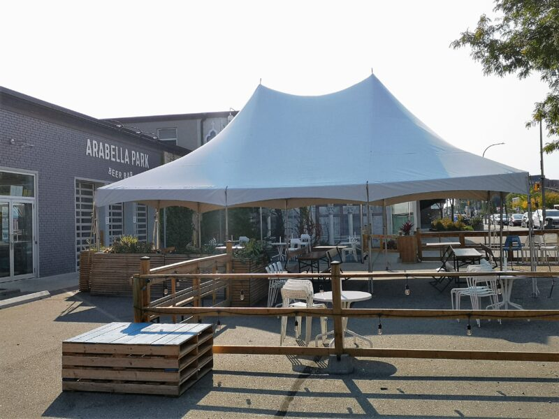 the small, open sided tent erected at Arabella Beer Bar in Kitchener for their Oktoberfest celebrations