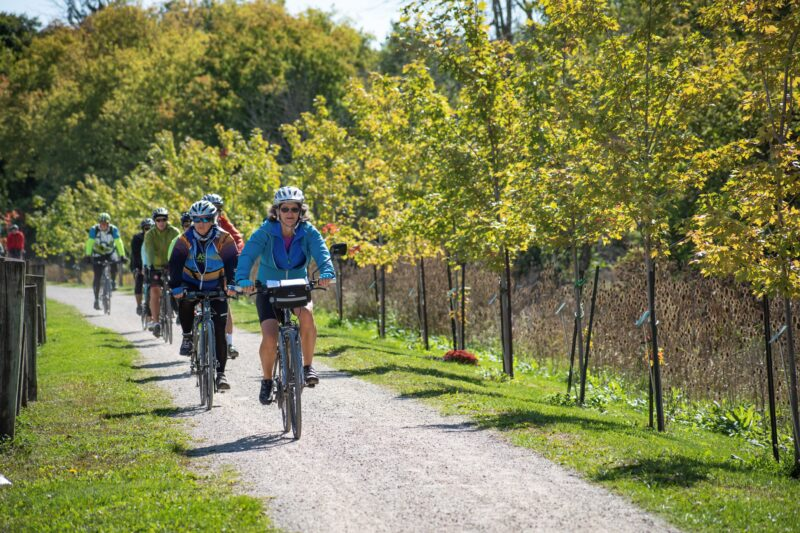 cyclists riding single file on a city trail during the Waterloo Guelph Explorer by Ontario by Bike