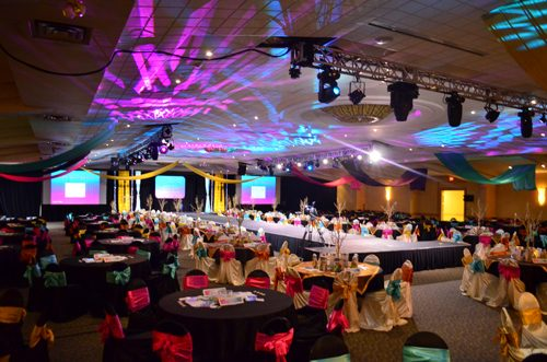 Bingemans Conference Centre Decorated with lights and tables