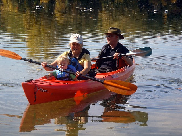 kayakers on the water at Shade's Mills, GRCA