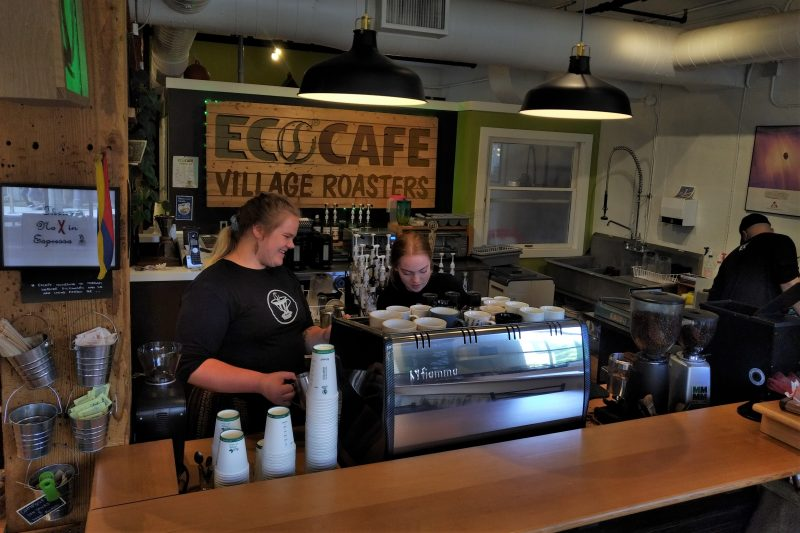 barristas making coffee beverages at EcoCafe in St. Jacobs