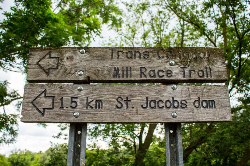 Trans Canada Mill Race Trail sign in St. Jacobs