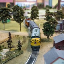 model train running in an exhibit at The Village Silos St. Jacobs
