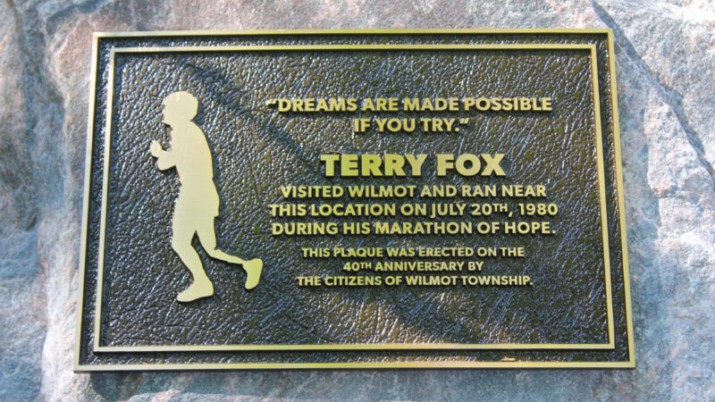 Terry Fox in Wilmot Township: Memorial plaque marks 40th anniversary of historic run
